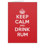 Keep Calm Drink Rum Greeting Note Card
