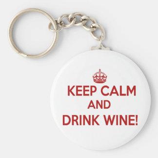 Keep Calm & Drink Wine Funny Keychain