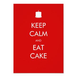 "Keep Calm Eat Cake 40th Birthday Invitation 4.5"" X 6.25"" Invitation Card"