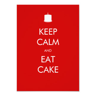 "Keep Calm Eat Cake 60th Birthday Invitation 4.5"" X 6.25"" Invitation Card"