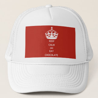 KEEP CALM  EAT  CHOCOLATE TRUCKER HAT