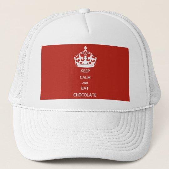KEEP CALM  EAT  CHOCOLATE TRUCKER HAT
