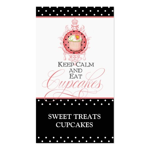 Keep Calm & Eat Cupcakes - Bakery Business Cards (front side)