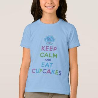 Keep Calm & Eat Cupcakes blue ringer T-Shirt