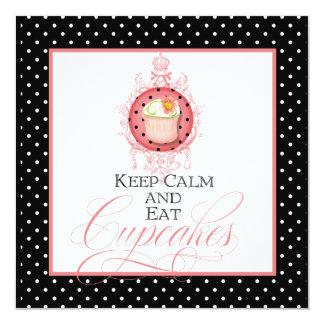 Keep Calm & Eat Cupcakes - Fashion Trendy Party Invitation