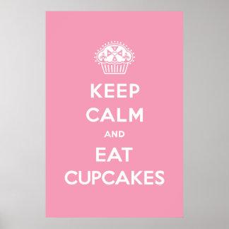 Keep Calm & Eat Cupcakes poster pink