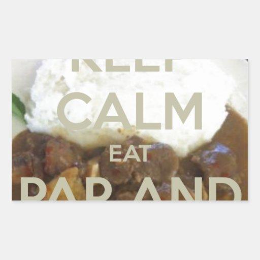 keep-calm-eat-pap-and-vleis.png pegatina rectangular
