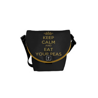 Keep Calm Eat Peas Gold Mini Zero Messenger Commuter Bag