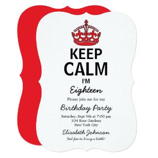 Keep Calm Eighteenth Birthday Invitation