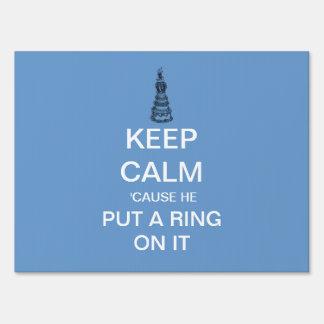 Keep Calm Engagement Announcement Yard Sign (Blue)