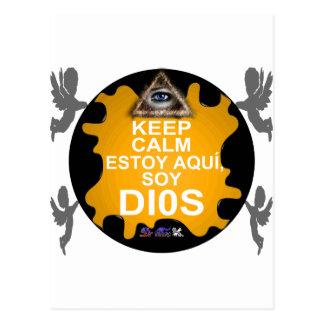 KEEP CALM ESTOY AQUI SOY DIOS CUSTOMIZABLE POSTCARD