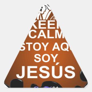 KEEP CALM ESTOY AQUI SOY JESUS  CUSTOMIZABLE TRIANGLE STICKER
