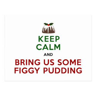 Keep Calm Figgy Pudding Postcard