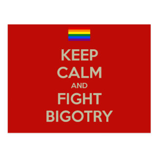 keep calm fight bigotry postcard