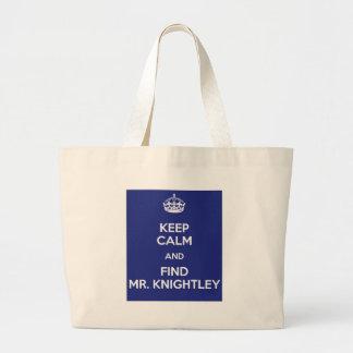 Keep Calm Find Mr. Knightley Emma Jane Austen Large Tote Bag