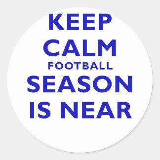 Keep Calm Football Season is Near Round Sticker
