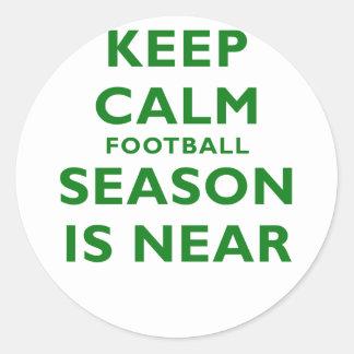 Keep Calm Football Season is Near Round Stickers