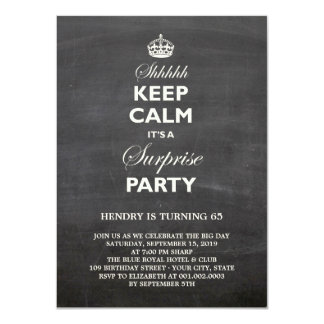 Keep Calm Funny Chalkboard Surprise Birthday Party 4.5x6.25 Paper Invitation Card
