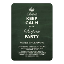 Keep Calm Funny Chalkboard Surprise Birthday Party Invitation