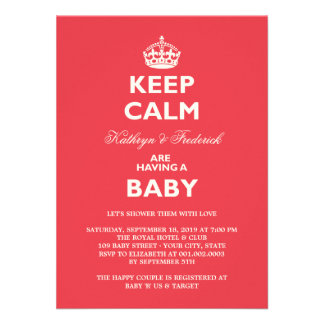 Keep Calm Funny Couples Baby Shower Party Invite Personalized Invites