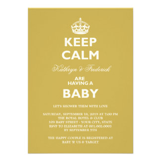 Keep Calm Funny Couples Baby Shower Party Invite Personalized Invitation