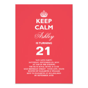 Save 60 on funny 21st birthday invitations limited time only zazzle keep calm funny milestone 21st birthday invite filmwisefo