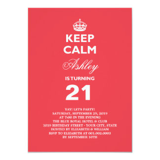 Keep Calm Funny Milestone 21st Birthday Invite