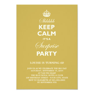 Keep Calm Funny Milestone Surprise Birthday Party 4.5x6.25 Paper Invitation Card