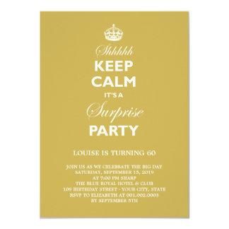 Keep Calm Funny Milestone Surprise Birthday Party 4.5x6.25 Paper Invitation Card
