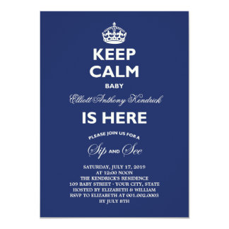 Keep Calm Funny Sip & See Baby Birth Announcement
