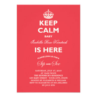 Keep Calm Funny Sip & See Baby Birth Announcement Invitations