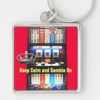 Keep Calm Gamble on Slot Machine Silver-Colored Square Keychain