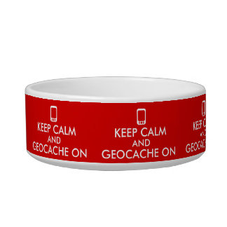 Keep Calm Geocaching Dog Bowl GPS Add Your Color