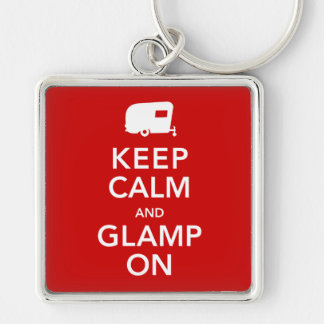 Keep Calm Glamp On - Vintage RV Camping Keychain