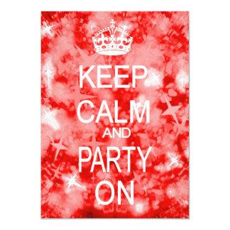 Keep Calm Glitz sparkly red party invitation