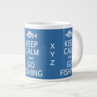 Keep Calm & Go Fishing custom monogram mugs Extra Large Mugs
