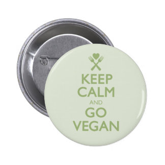 Keep Calm Go Vegan Pinback Button