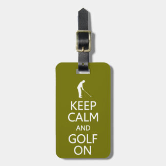 Keep Calm Golf On custom luggage tag