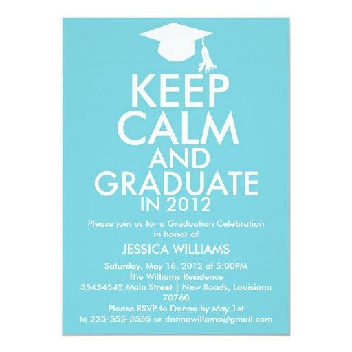 Keep Calm Graduation 5x7 Paper Invitation Card