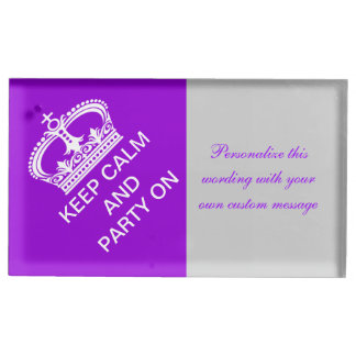 Keep Calm Gray wedding PERSONALIZE Place Card Holder