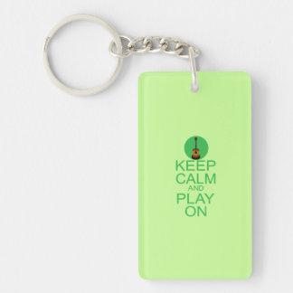 Keep Calm Guitar Parody Keychain
