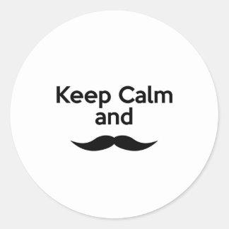 Keep Calm, Handlebar Mustache Classic Round Sticker