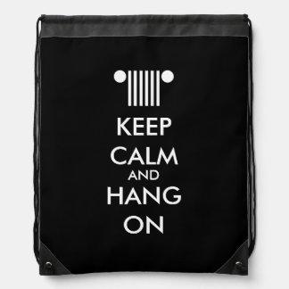 Keep Calm Hang On Drawstring Backpack