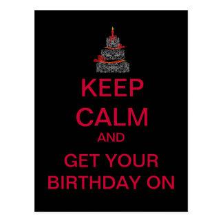 KEEP CALM Happy Birthday Postcard (Black)