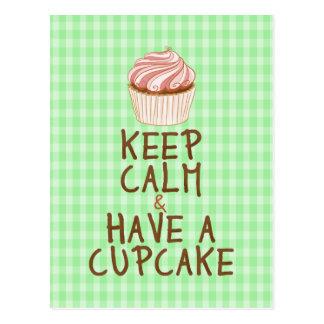 Keep Calm Have a Cupcake - green squares Postcard