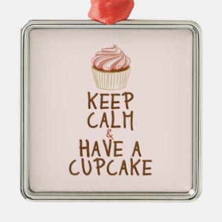 Keep Calm & Have a Cupcake Square Metal Christmas Ornament