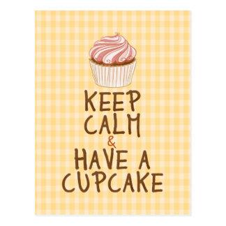 Keep Calm & Have a Cupcake - yellow squares Postcard