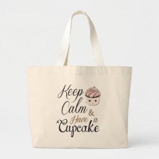 Keep calm Have Cupcake Kawaii Large Tote Bag