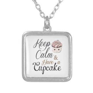 Keep calm Have Cupcake Kawaii Silver Plated Necklace