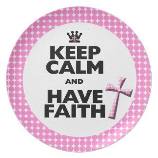 Keep Calm & Have Faith pink polka-dot cross plate
